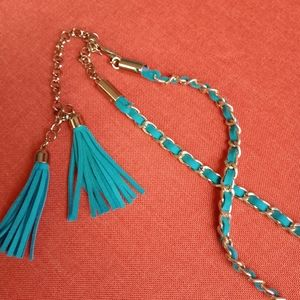 ❤️2/$25❤️Teal and Gold chain belt with tassels